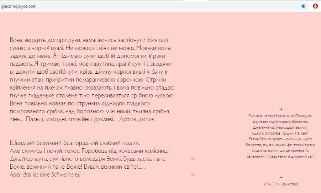 """Скріншот з інтерактивного оповідання """"Джакомо Джойс"""", яке перемогло в конкурсі """"Книжка майбутнього"""" на фестивалі Book Space."""