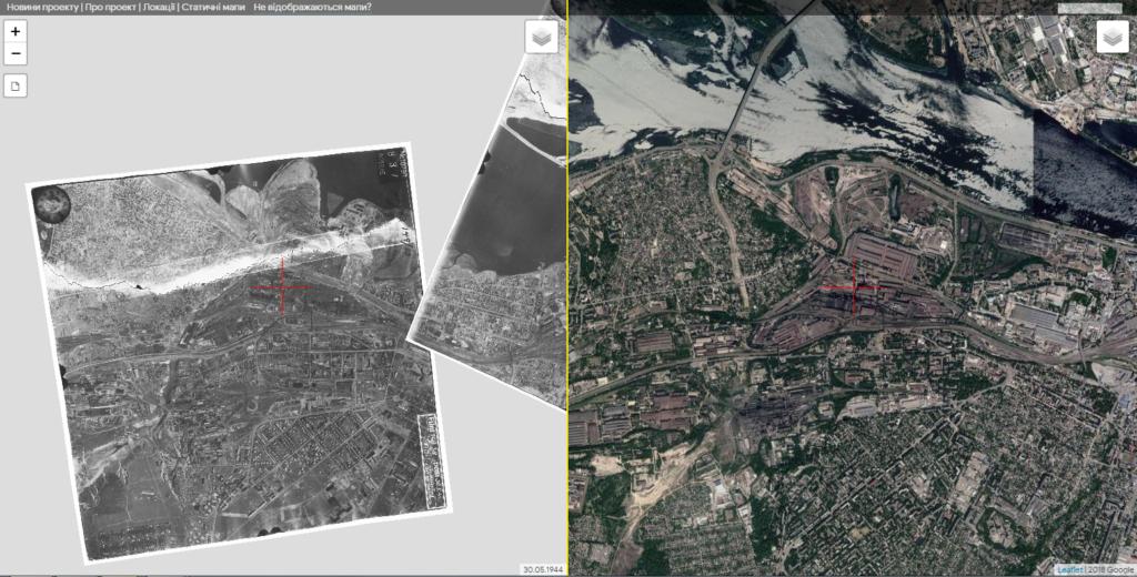 Старые аэрофотоснимки Днепра на сайте oldmaps