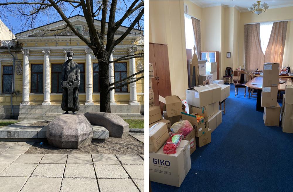 Пам'ятник Яворницькому біля історичного музею та кабінет директорки