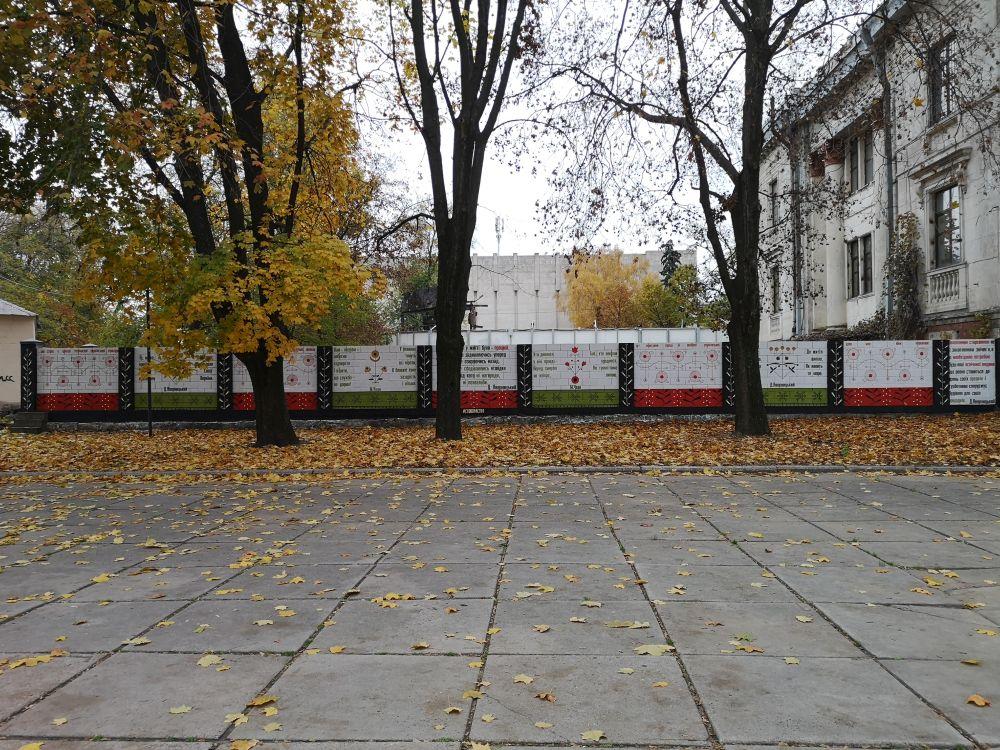 Великий мурал, присвячений Дмитру Яворницькому, займає 10 секцій паркану. Проект #словонастіні